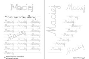 Karty pracy z imionami - nauka pisania imion dla dzieci - Maciej