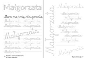 Karty pracy z imionami - nauka pisania imion dla dzieci - Małgorzata