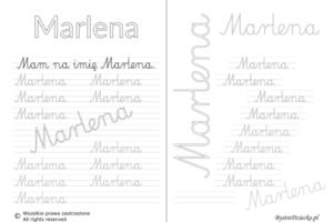 Karty pracy z imionami - nauka pisania imion dla dzieci - Marlena