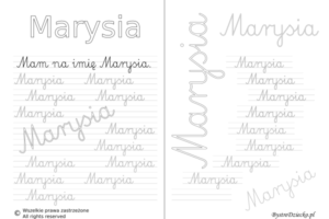 Karty pracy z imionami - nauka pisania imion dla dzieci - Marysia