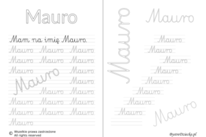 Karty pracy z imionami - nauka pisania imion dla dzieci - Mauro