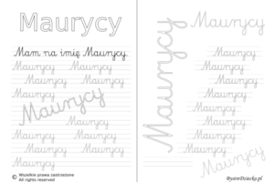 Karty pracy z imionami - nauka pisania imion dla dzieci - Maurycy