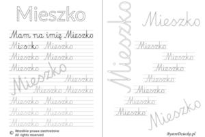 Karty pracy z imionami - nauka pisania imion dla dzieci - Mieszko