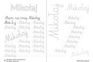 Karty pracy z imionami - nauka pisania imion dla dzieci - Mikołaj