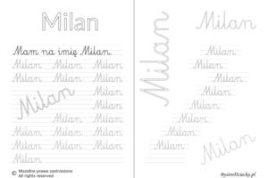 Karty pracy z imionami - nauka pisania imion dla dzieci - Milan