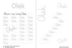 Karty pracy z imionami - nauka pisania imion dla dzieci - Olek
