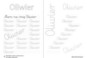 Karty pracy z imionami - nauka pisania imion dla dzieci - Oliwier