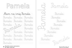 Karty pracy z imionami - nauka pisania imion dla dzieci - Pamela