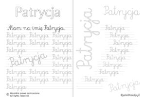 Karty pracy z imionami - nauka pisania imion dla dzieci - Patrycja