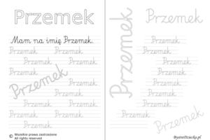 Karty pracy z imionami - nauka pisania imion dla dzieci - Przemek
