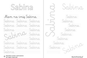 Karty pracy z imionami - nauka pisania imion dla dzieci - Sabina