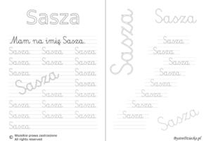 Karty pracy z imionami - nauka pisania imion dla dzieci - Sasza