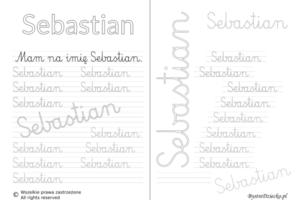 Karty pracy z imionami - nauka pisania imion dla dzieci - Sebastian