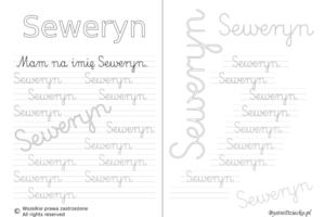 Karty pracy z imionami - nauka pisania imion dla dzieci - Seweryn