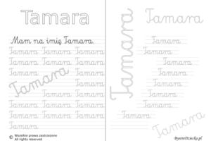 Karty pracy z imionami - nauka pisania imion dla dzieci - Tamara