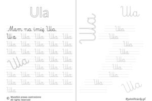 Karty pracy z imionami - nauka pisania imion dla dzieci - Ula