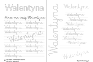 Karty pracy z imionami - nauka pisania imion dla dzieci - Walentyna