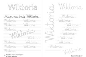 Karty pracy z imionami - nauka pisania imion dla dzieci - Wiktoria