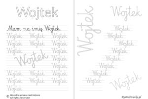 Karty pracy z imionami - nauka pisania imion dla dzieci - Wojtek