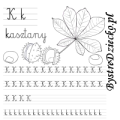 Nauka pisania literek – k jak kasztany