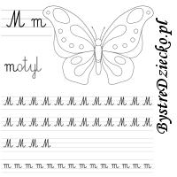 Nauka pisania literek – M jak motyl