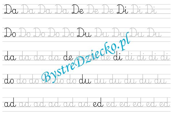 D - nauka pisania sylabami - karty pracy dla dzieci