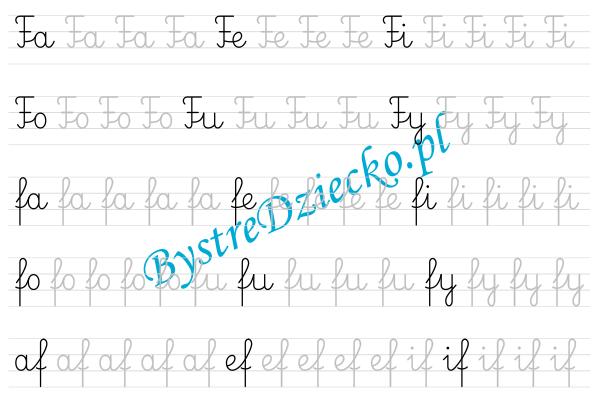 F - nauka pisania sylabami - karty pracy dla dzieci