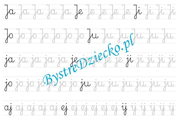 J - nauka pisania sylabami - karty pracy dla dzieci