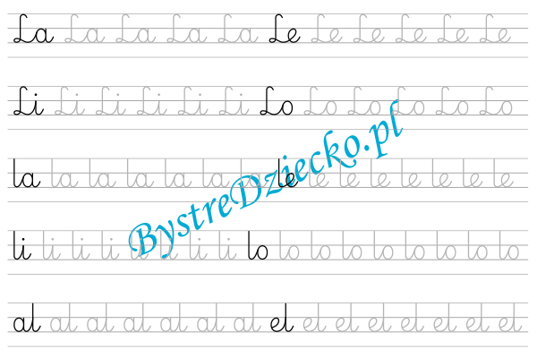 L - nauka pisania sylabami - karty pracy dla dzieci