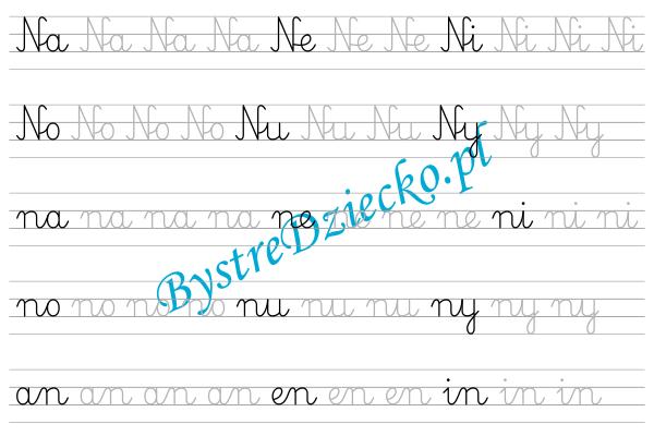 N - nauka pisania sylabami - karty pracy dla dzieci