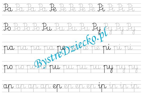 P - nauka pisania sylabami - karty pracy dla dzieci