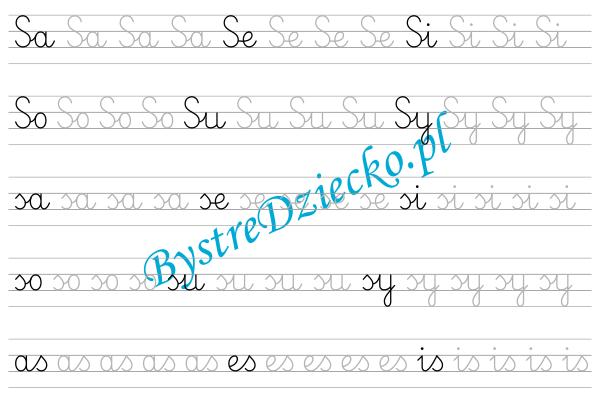S - nauka pisania sylabami - karty pracy dla dzieci