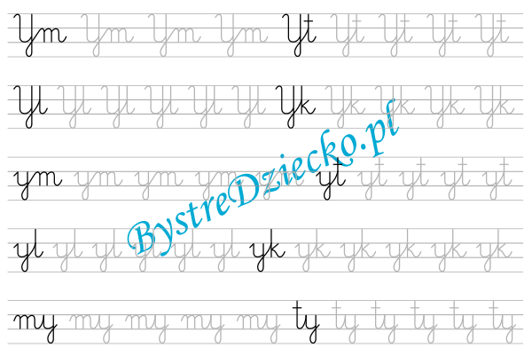 Y - nauka pisania sylabami - karty pracy dla dzieci