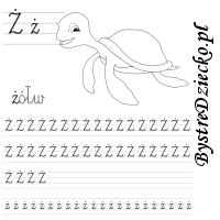 Nauka pisania literek – ż jak żółw