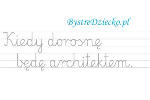 Nauka pisania dla dzieci, zawody, kiedy dorosnę będę architekte