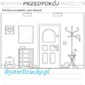 Opisz obrazek, przedpokój kolorowanka dom - wypracowanie dla dzieci, sprawdzian z języka polskiego
