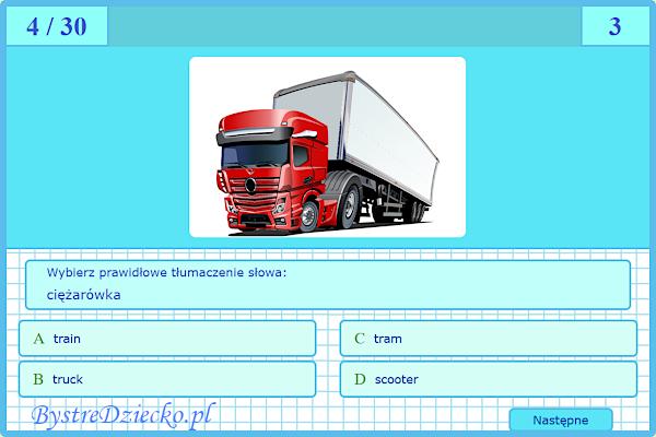 Vehicles - Pojazdy - quiz online angielski dla dzieci - Gra dla dzieci do nauki języka angielskiego