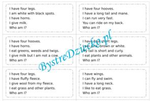 Angielski dla dzieci, zagadki o zwierzętach - Farm animals riddles - worksheets for kids