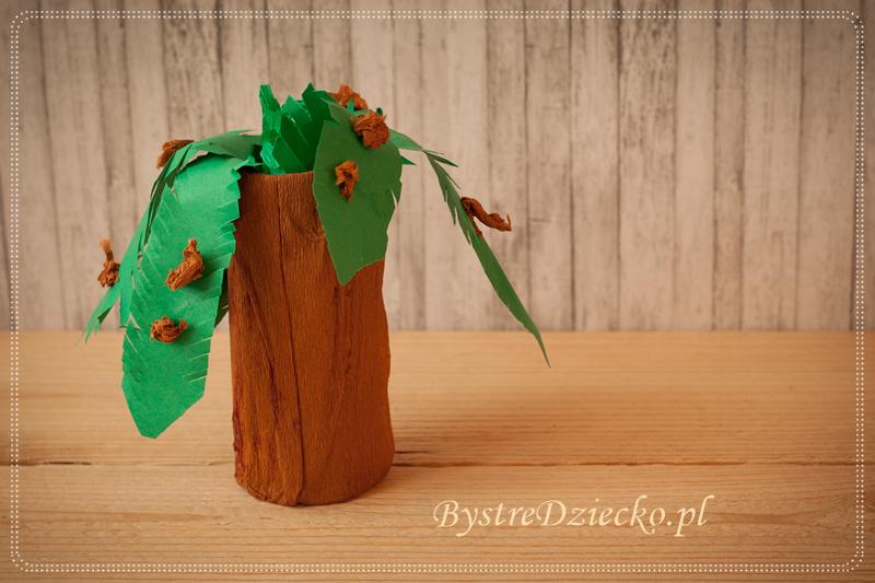 Palma kokosowa z rolki po papierze toaletowym - prace plastyczne dla dzieci