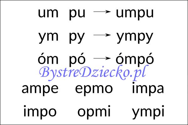 Nauka czytania sylabami - połączenie sylaba zamknięta i sylaba otwarta