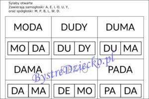 Proste wyrazy z podziałem na sylaby otwarte do nauki czytania metodą sylabową - D