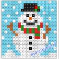 Zimowy bałwan jako ukryty obrazek do kodowania dla dzieci, dodawanie i odejmowanie w zakresie 30 na kartach pracy