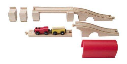 Kolejka drewniana Ikea - zestaw podjazdów i zjazdów w formie wysokiego mostu