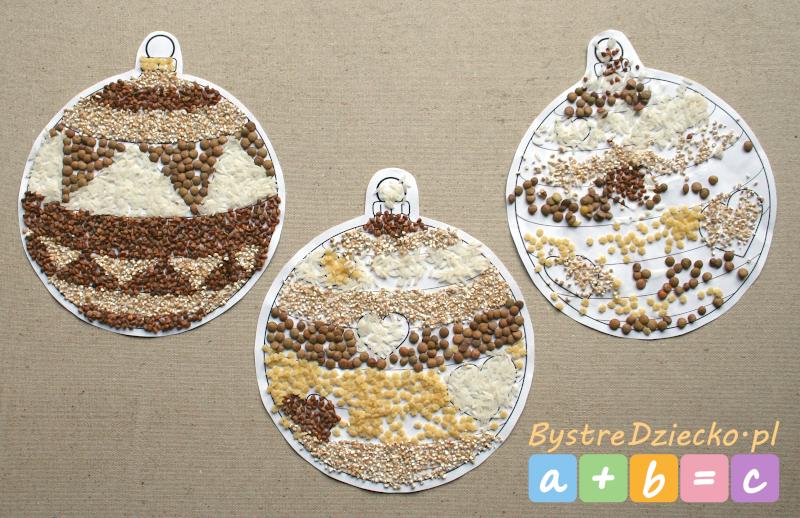 Bombka kolorowanka wyklejana kaszą, ryżem, soczewicą i makaronem
