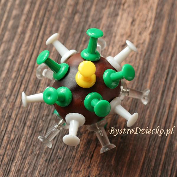 Kasztany jako figurki wirusów - zabawy plastyczne dla dzieci z darów natury jesienią
