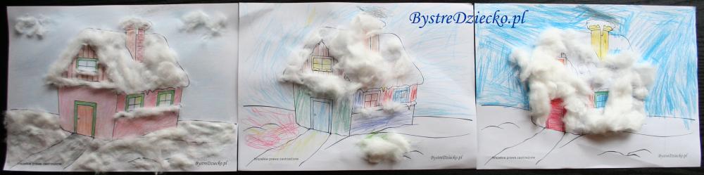 Ośnieżony dom - kolorowanka zima wyklejana watą