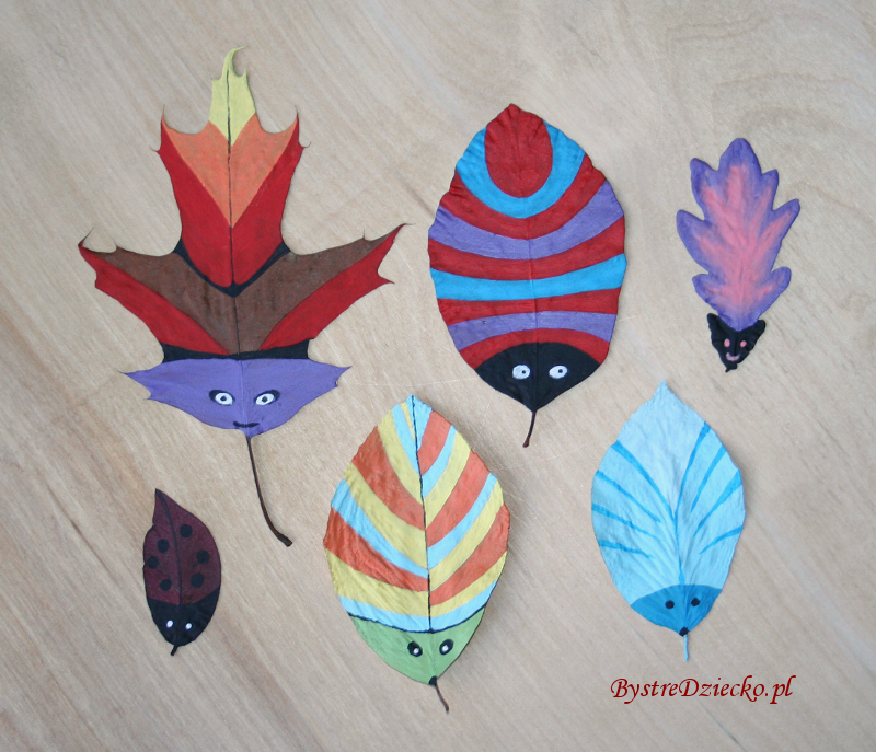 DIY Colored bugs from dried fall leaves of tree as part of the art for kids