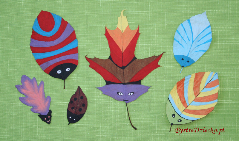 DIY Kolorowe owady z suszonych liści w ramach prac plastycznych dla dzieci