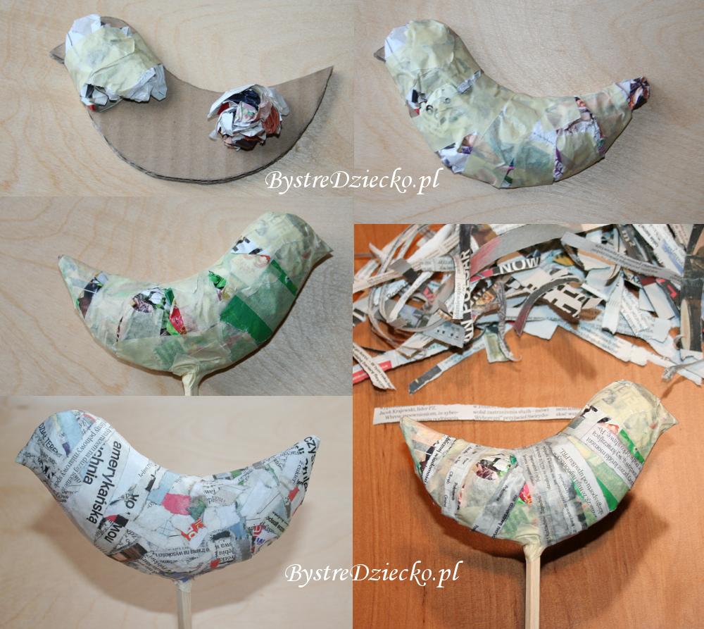 DIY kolorowe ptaki z papier mache w ramach zajęć plastycznych dla dzieci
