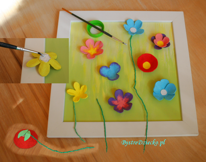 Picture of spring flowers made from egg cartons during crafts for kids